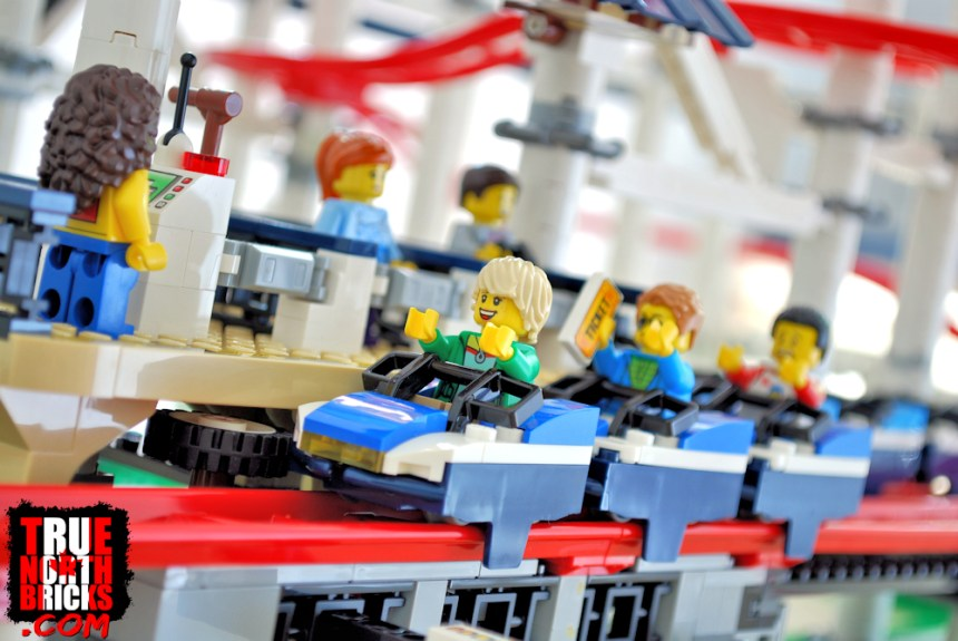 Minifigures riding the Roller Coaster (10261).