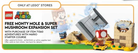 August 2020 LEGO Promotion: Monty Mole and Super Mushroom expansion pack.