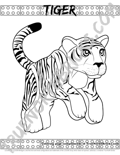 LEGO inspired Tiger coloring page