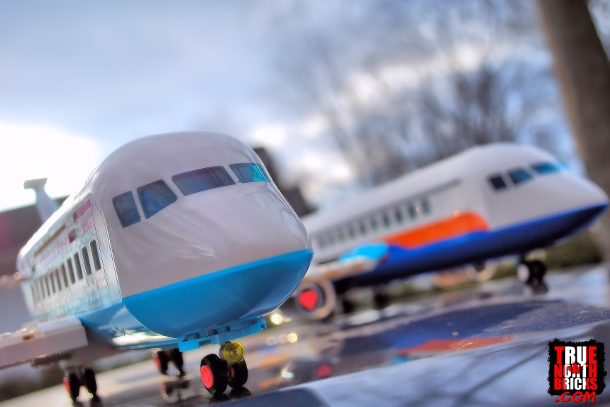 A plane comparison of the Heartlake City Airplane and Passenger Airplane from the LEGO Group.