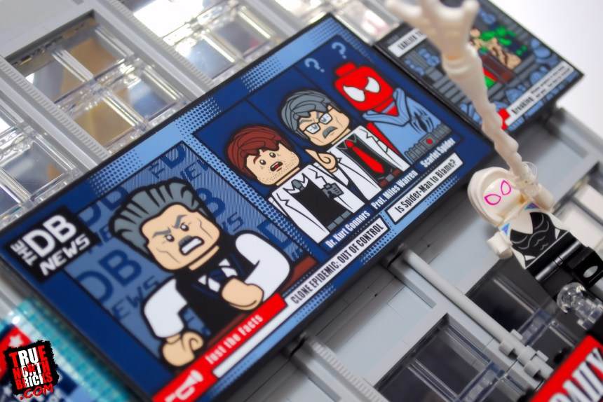 Exterior news screens on the Daily Bugle (76178) set.