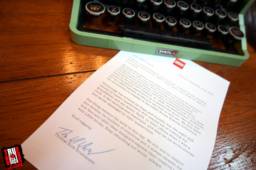 LEGO® Ideas Typewriter (21327) comes with a letter from Thomas Kirk Kristiansen.