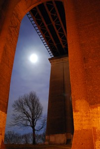 Under the Hell Gate Bridge in Astoria Park.