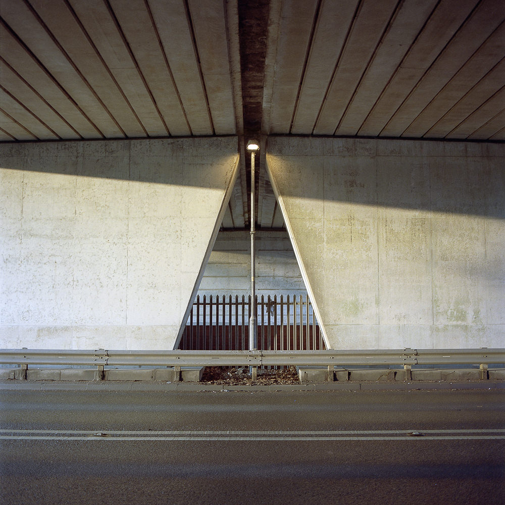 light on the concrete bridge