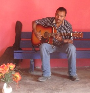 Juan played his acoustic guitar as there is no electricity.