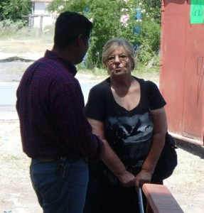 Long-time missionary Judy visited with pastor Jose.