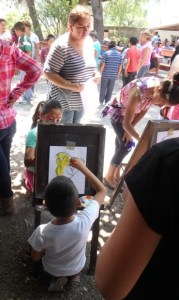 The water color area was fun for many of the children.