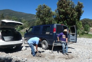 We went to a creek bed to get the gravel needed for the concrete.