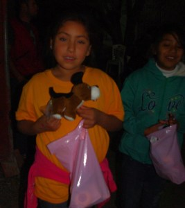A stuffed animal was one of the gift items in the girls' bags.