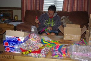 Our daughter Maigen and Pepper helped organize many gifts before we left the USA.