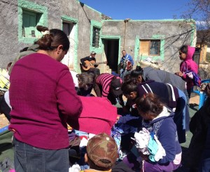 The Mimbres folks enjoyed picking out clothing for their families from the donated clothes the team brought.