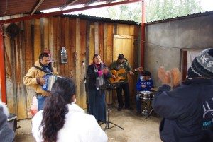 Juan and Sandra sang with the local band.