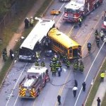 6 dead after school bus collides with commuter bus in Baltimore