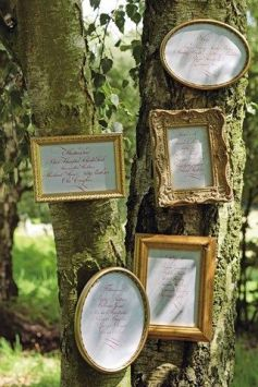 Woodland wedding seating plan on tree