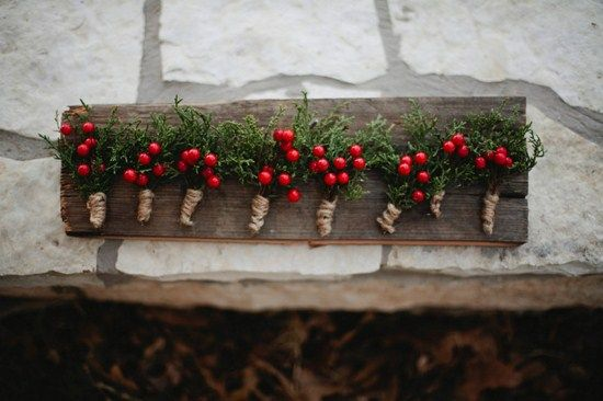 Holly berry winter wedding boutonniere