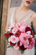 Pink and red flowers Valentine's wedding
