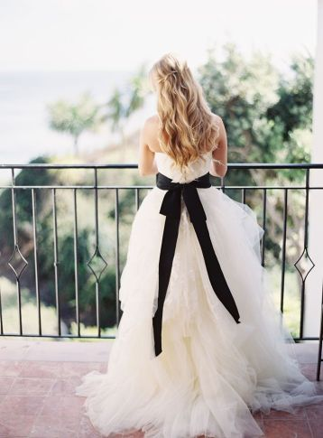 Monochrome wedding ideas white bridal gown with black sash