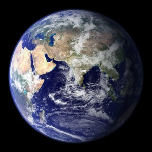 """This spectacular """"blue marble"""" image is the most detailed true-color image of the entire Earth to date. Using a collection of satellite-based observations, scientists and visualizers stitched together months of observations of the land surface, oceans, sea ice, and clouds into a seamless, true-color mosaic of every square kilometer (.386 square mile) of our planet."""