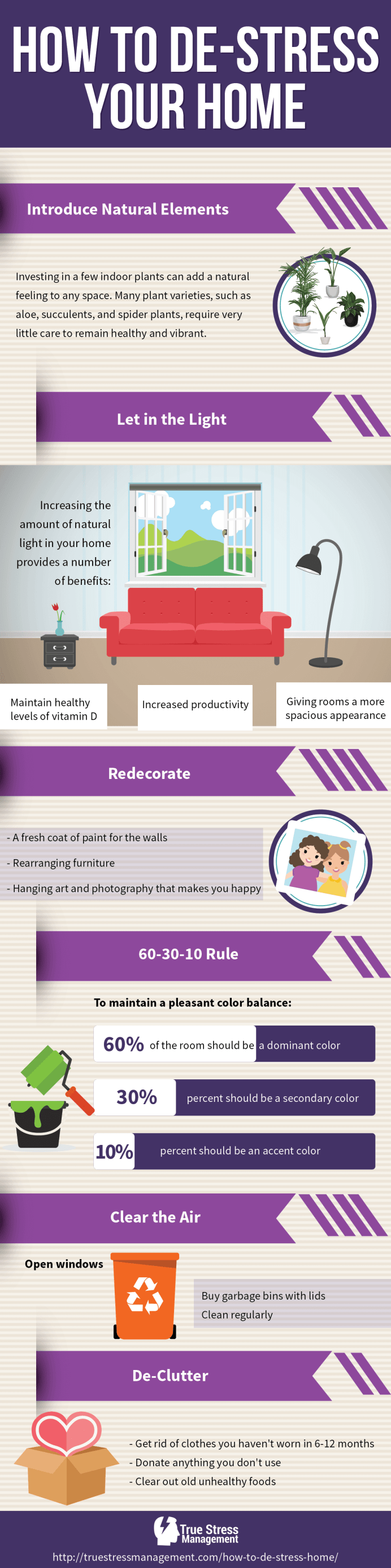 how to de-stress your home infographic