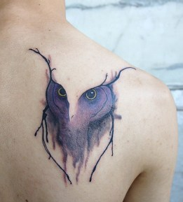 Watercolor Owl Face Tattoo