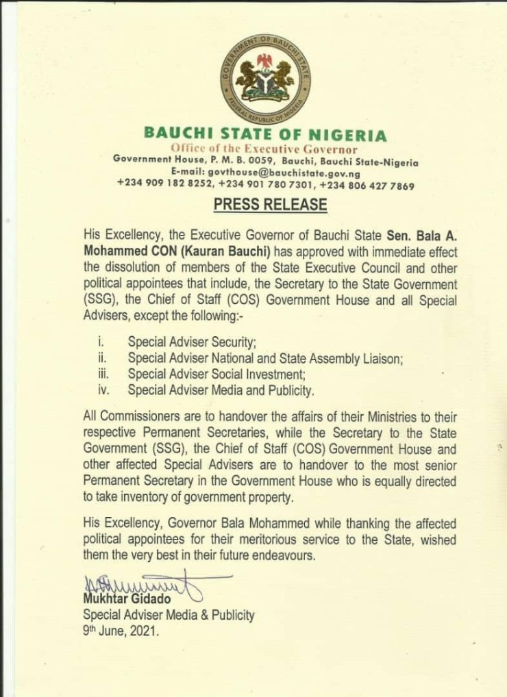 Bauchi Governor dissolves cabinet, sacks SSG, Chief of Staff, other top officials