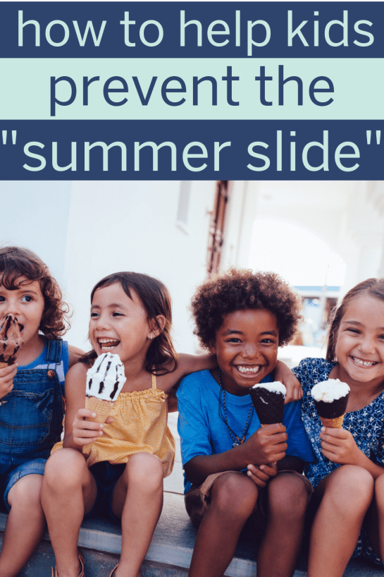 "Preventing ""summer slide"" during summer break at school is so important! Here are ways to prevent learning loss over the summer and help kids retain everything they've learned during the school year! #summerslide #summerbreak #summerbreakactivities #summerbreakideas #summerschool #parentingtips #learningretention #summerreading #learningresources"