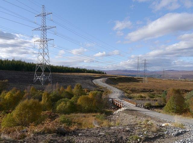 Power lines by the Allt Phocaichain. © Copyright Craig Wallace