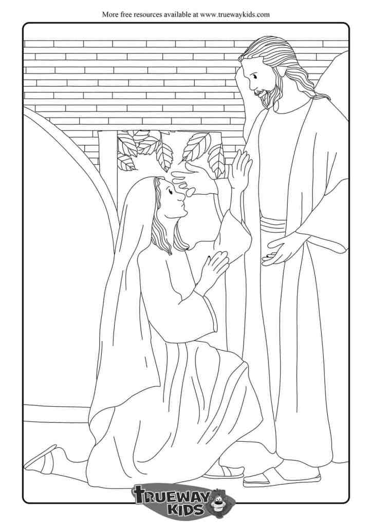 Mary and the Angel -Free coloring page