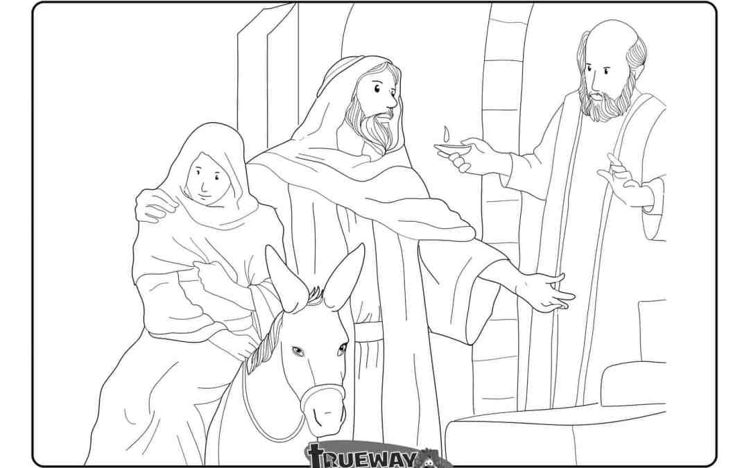 No room in the Inn – Luke 2:7 – Free colouring page
