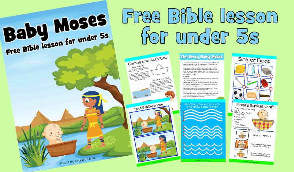photograph relating to Baby Moses Printable named Boy or girl Moses Bible lesson for beneath 5s - Trueway Young children