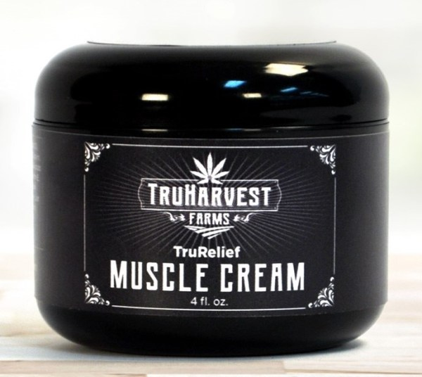 Container of hemp-based muscle cream