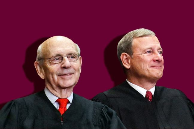 Justice Stephen Breyer and Chief Justice John Roberts. Photo illustration by Slate. Photo by Chip Somodevilla/Getty Images.