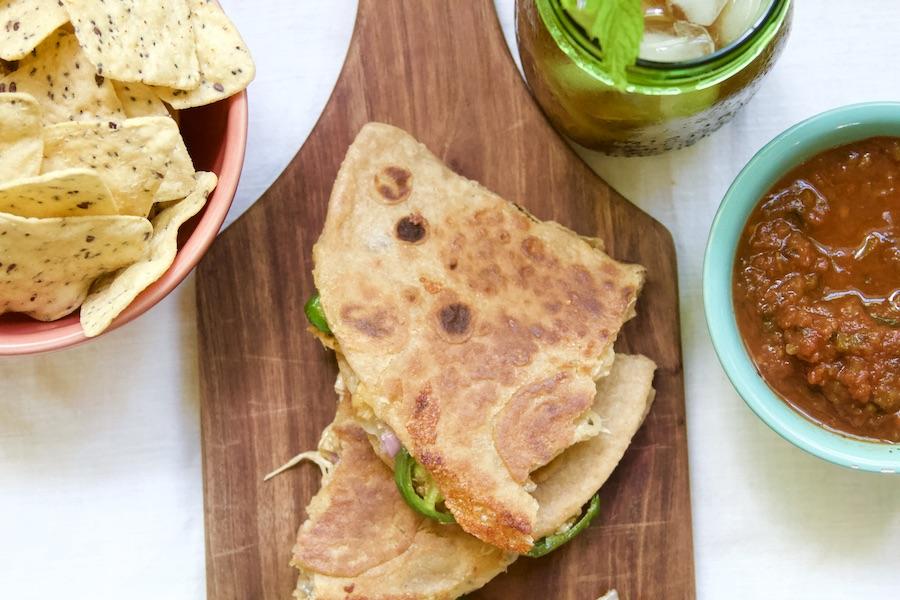 quesadilla made with sourdough tortilla