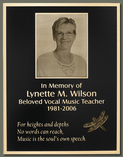 cast memorial plaque with etched picture