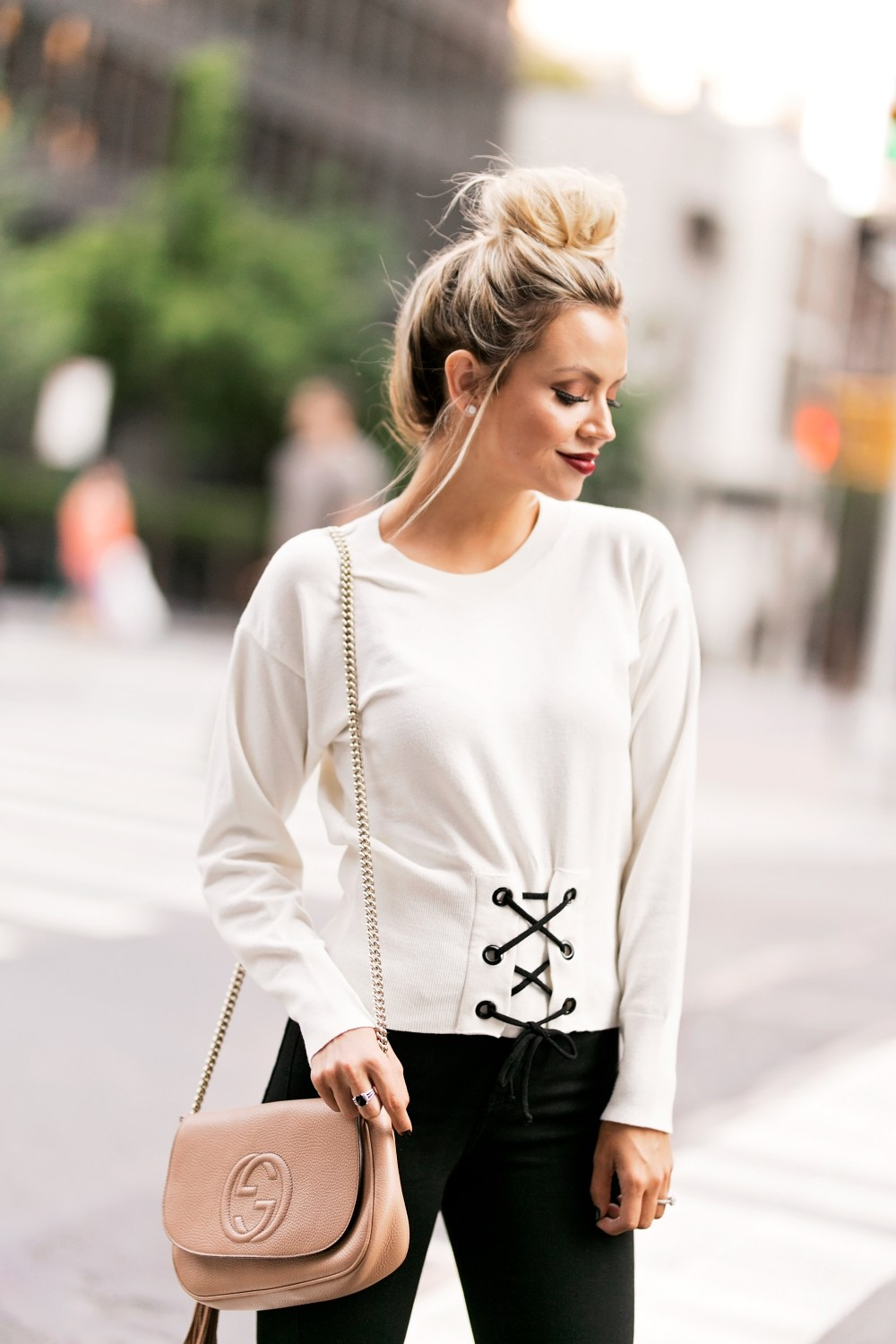 I am crushing on this corset sweater that completes this neutral look!