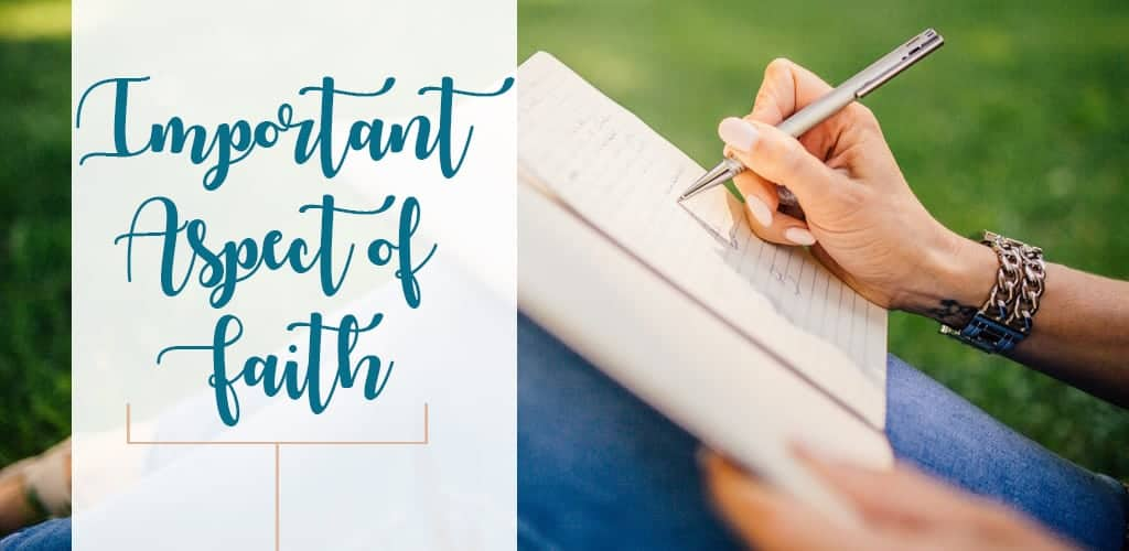 woman taking notes on important aspect of faith outdoors with pen and journal