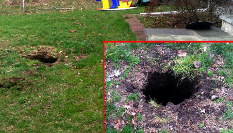 Rotted Tank Lid Collapsed and Created this Hole in the Yard