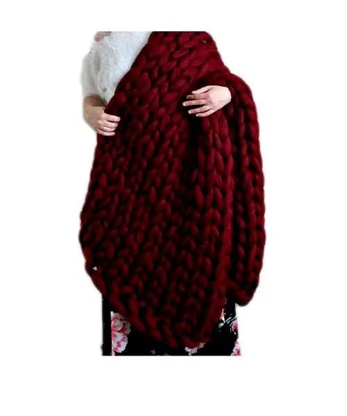 merino wool arm knitted blanket