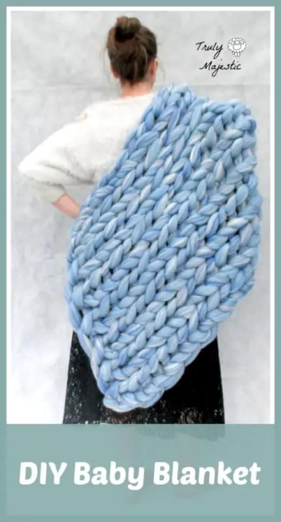 DIY knitted baby blanket, ohhio, becozi, arm knitting, hand knitting