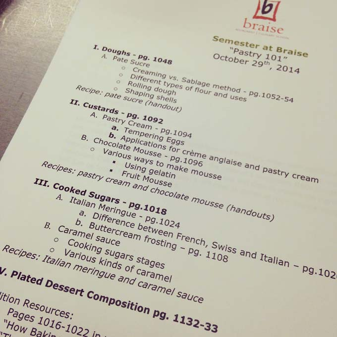 Lesson plan from Pastry Class from Semester at Braise