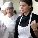 Chef Sarah Assisting Students at Braise Culinary School