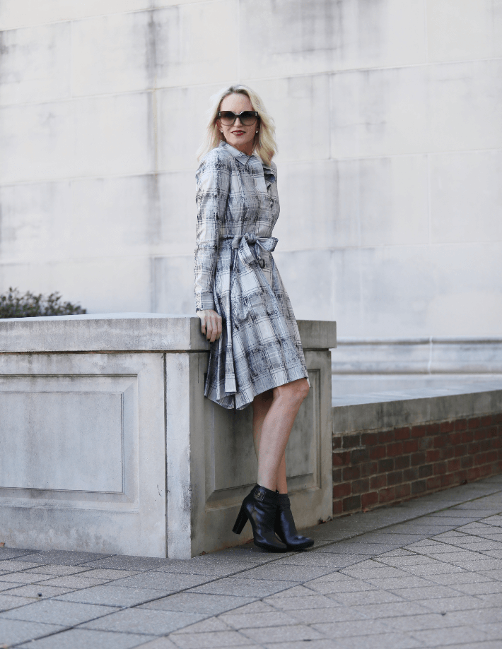 Dallas fashion blogger 'Truly Megan' wears Worth New York silver plaid shirt dress from the Winter 2018 collection.