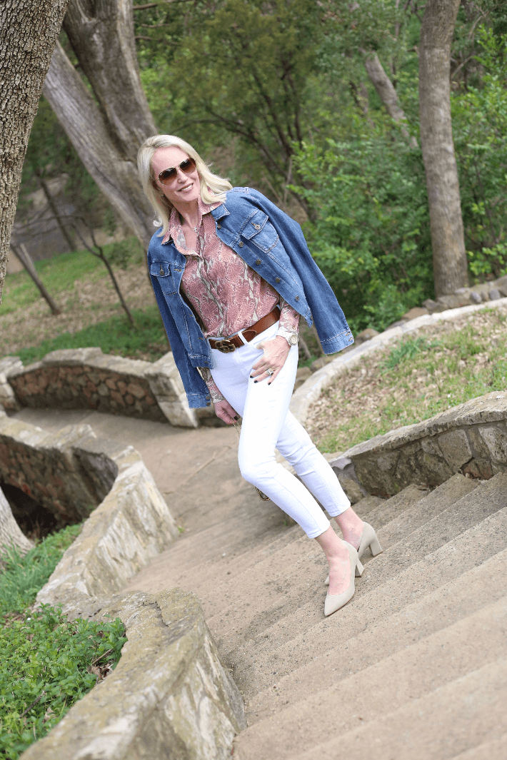 Dallas fashion blogger 'Truly Megan' wearing W by Worth python print blouse and Gucci belt.