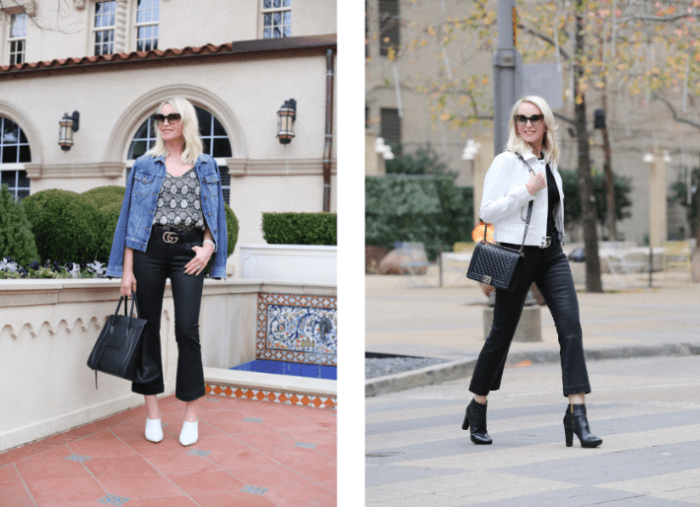Black Coated Cropped Jeans Worn Two Ways + a Must Have $40 Snake Skin Cami
