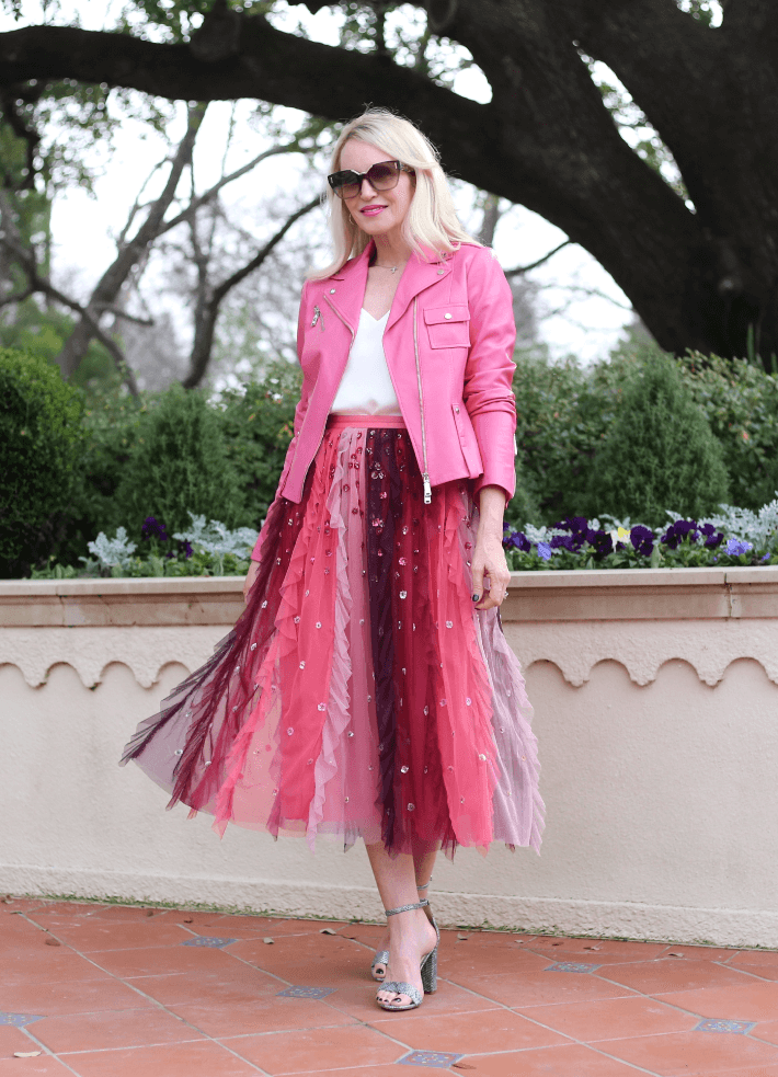 Dallas fashion blogger Megan Saustad wears pink leather moto jacket and pink tulle skirt for Valentine's Day outfit.