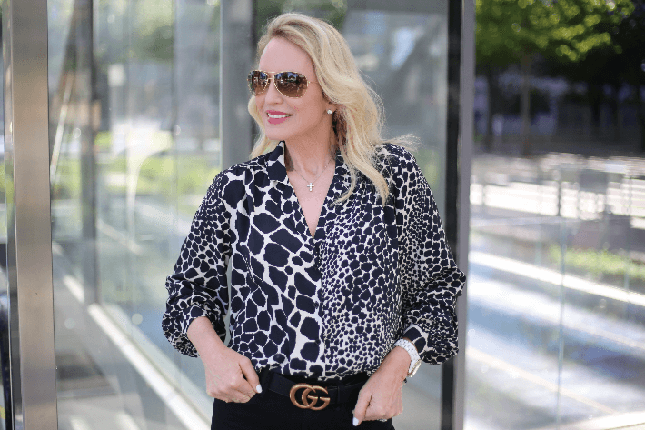 Dallas style blogger Truly Megan wearing Topshop giraffe print blouse and Gucci belt.