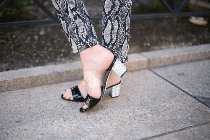 Fashion blogger waring Allegra James patent and crystal slide. #allegrajamesshoes #allegrajames #blackpatentsandal