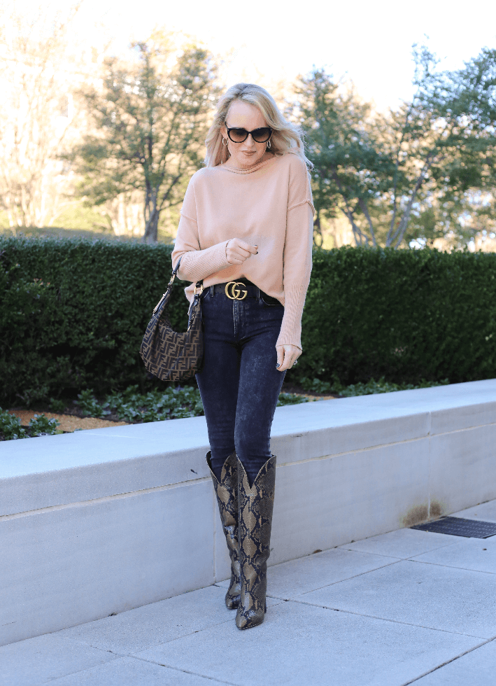 Dallas fashion blogger Truly Megan wearing Chicwish camel sweater, Gucci belt, Fendi Zucca hobo bag and Paris, Texas python boots.