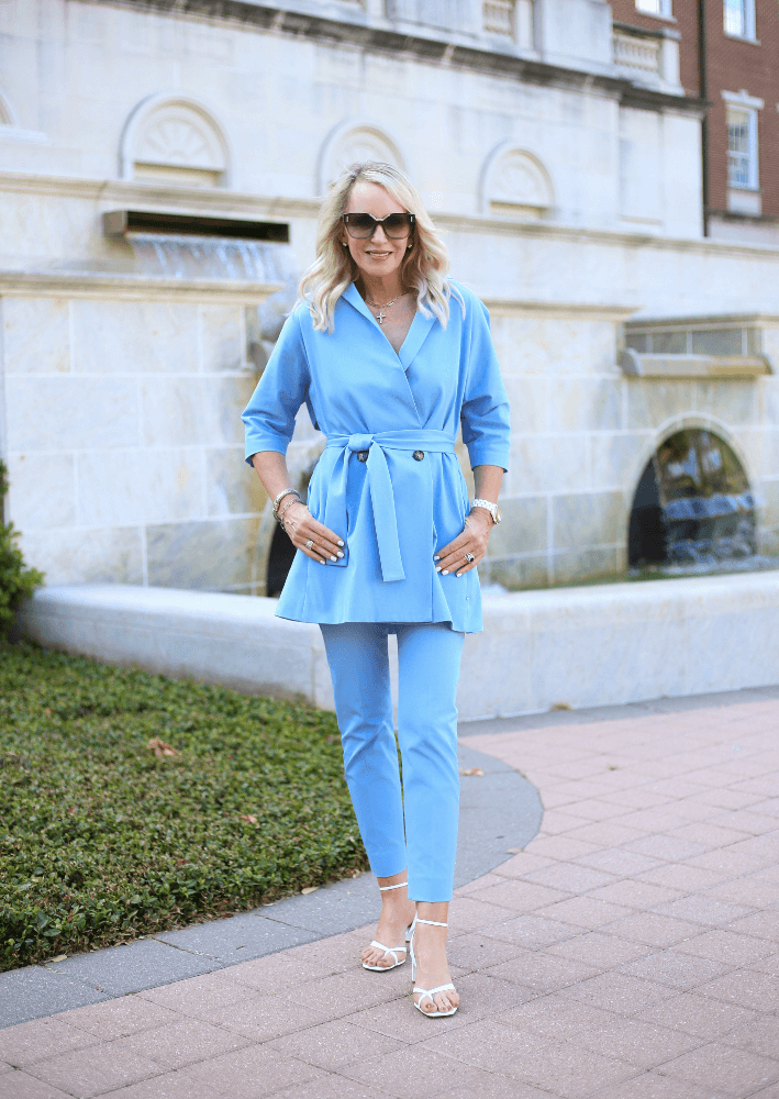 Dallas fashion blogger Truly Megan wearing Pearl by Lela Rose Sky Blue Cotton Wrap Jacket and Susie Pant from the Spring 2020 Collection.