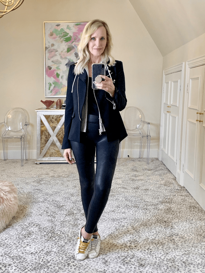 Dallas fashion blogger Megan Saustad wearing spanx faux leather legging and Veronica Beard Scuba Dickey Jacket.